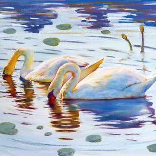 SWAN LAKE by The Print Studio, Digital Painting, Digital Print on Canvas, Cyan color