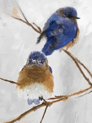 BLUE BIRDS-22 Digital Print by The Print Studio,Expressionism