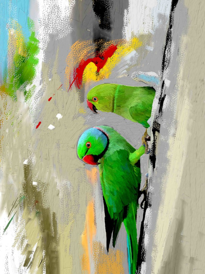 PARROTS-30 by The Print Studio, Expressionism Painting, Digital Print on Canvas, Beige color