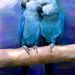 BIRDS IN TWILIGHT by The Print Studio, Expressionism Painting, Digital Print on Canvas, Blue color
