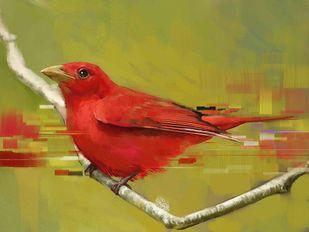 RED BIRD Digital Print by The Print Studio,Expressionism