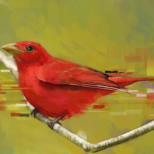RED BIRD Digital Print by The Print Studio,Expressionism