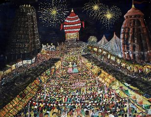 Fair in Indian Temples Digital Print by S.SHIVAPRASAD,Expressionism