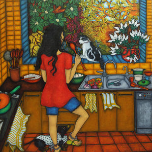 Kitchen Kahani by Vallery Puri, Expressionism Painting, Oil on Canvas, Brown color