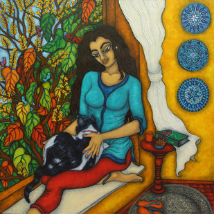 Lap Cat by Vallery Puri, Expressionism Painting, Oil on Canvas, Brown color