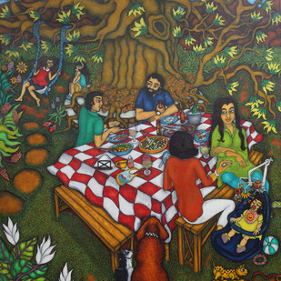 Friends and Family by Vallery Puri, Expressionism Painting, Oil on Canvas, Brown color