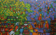 Family and Friends by Vallery Puri, Expressionism Painting, Oil on Canvas, Green color
