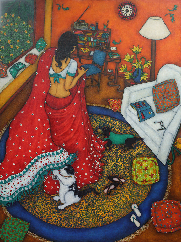 Swirling saree by Vallery Puri, Expressionism Painting, Oil on Canvas, Brown color