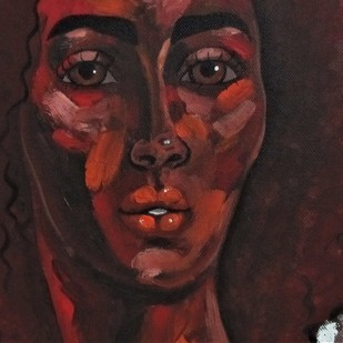 Portrait of a girl III by Suruchi Jamkar, Expressionism Painting, Acrylic on Canvas, Brown color