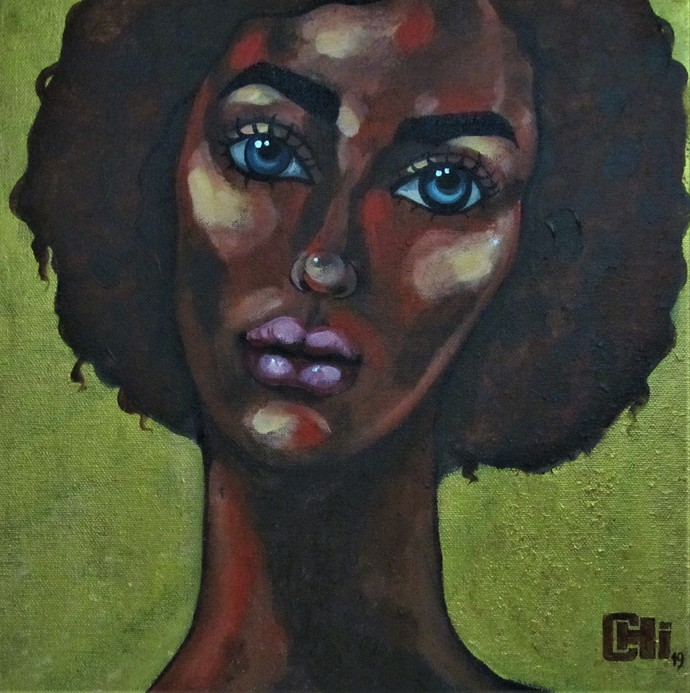 The golden girl by Suruchi Jamkar, Expressionism Painting, Acrylic on Canvas, Gray color