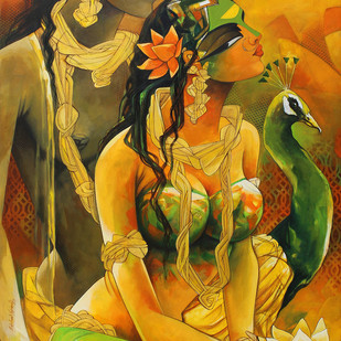 Radhakrishna-19-2 by Rajeshwar Nyalapalli, Traditional Painting, Acrylic on Canvas, Brown color