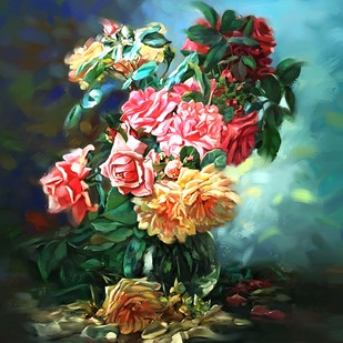 Still Life with Flowers - 07 by The Print Studio, Digital Painting, Digital Print on Canvas, Green color
