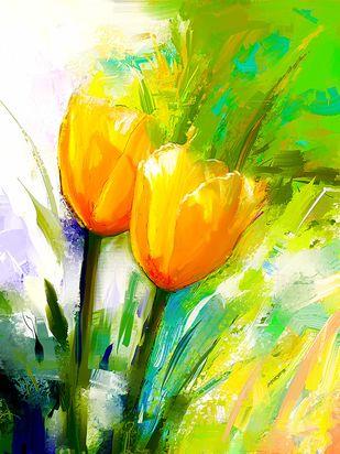 Yellow Tulip Digital Print by The Print Studio,Digital