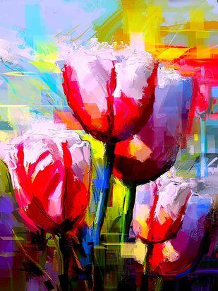 Floral - 15 Digital Print by The Print Studio,Digital