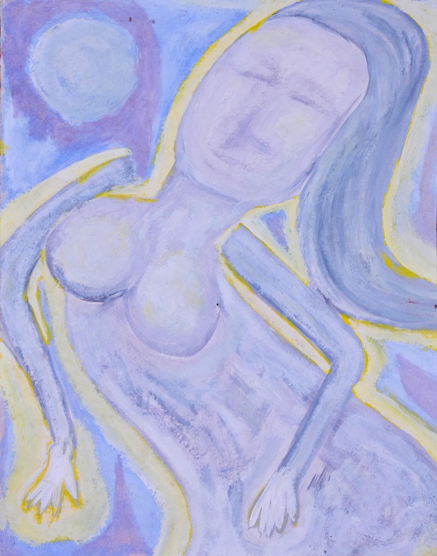 Portrait of Opalina by Manoj Kumar Negi, Expressionism Painting, Tempera on Paper, Cyan color
