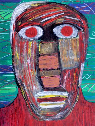 Self-portrait by Manoj Kumar Negi, Expressionism Painting, Tempera on Paper, Brown color