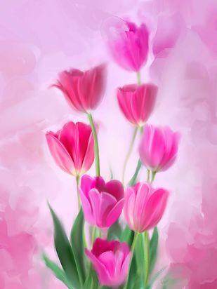 Pink Blooms Digital Print by The Print Studio,Digital