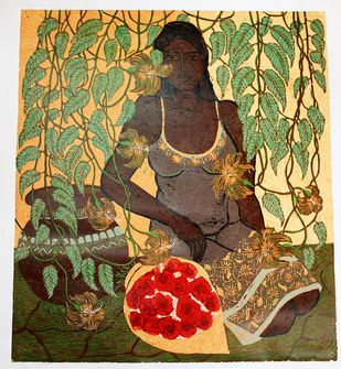 A Bouqet of Flowers by Rajashree Nayak, Expressionism Printmaking, Wood Cut on Paper, Beige color