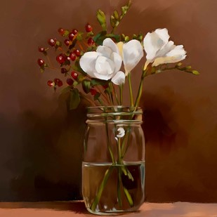 Still Life with Flowers - 72 by The Print Studio, Realism Painting, Digital Print on Canvas, Brown color