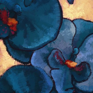Abstract Blue Flower - 73 by The Print Studio, Expressionism Painting, Digital Print on Canvas, Blue color