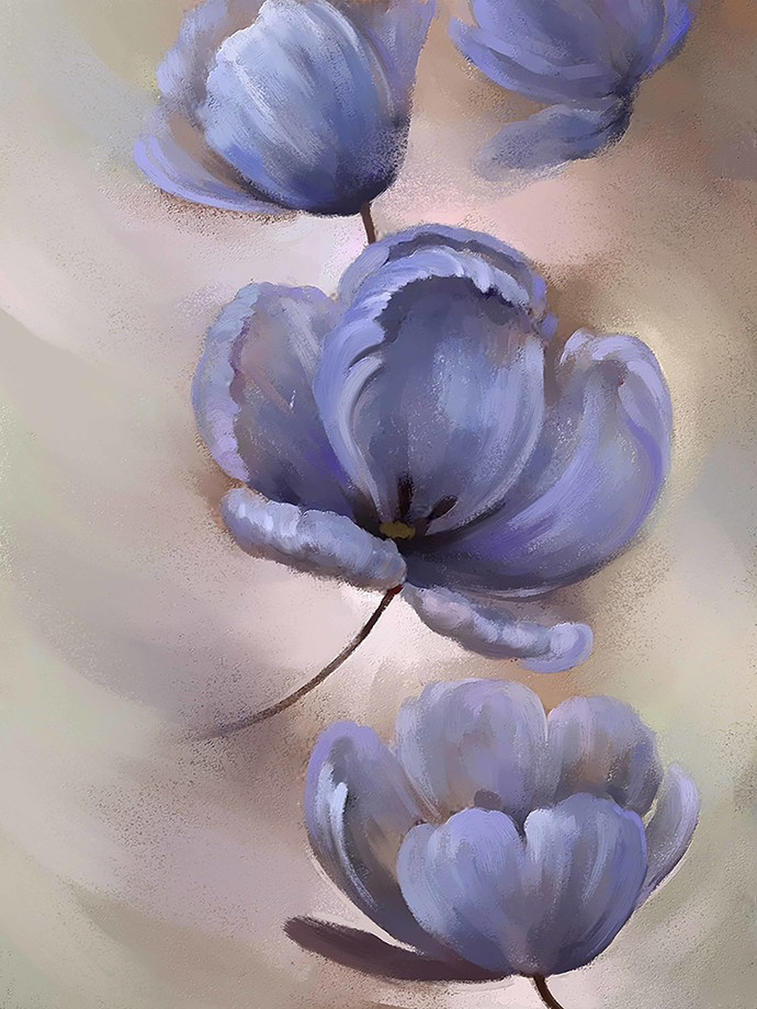 Abstract blue Flower - 74 Digital Print by The Print Studio,Digital