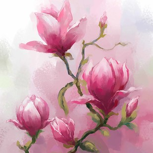 Water Colour Bloom - 83 by The Print Studio, Digital Painting, Digital Print on Canvas, Pink color