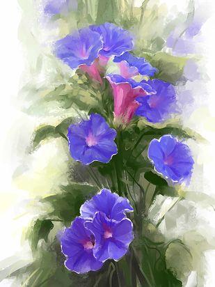 Water Colour Bloom - 88 Digital Print by The Print Studio,Digital