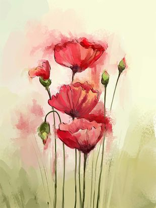 Soft Poppies - 89 Digital Print by The Print Studio,Digital