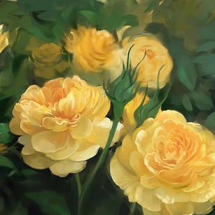 Yellow Flowers by The Print Studio, Digital Painting, Digital Print on Canvas, Green color