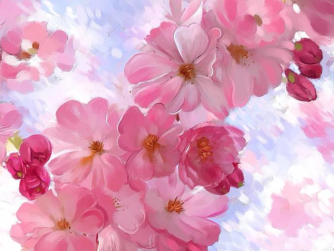 Pastel Blooms Digital Print by The Print Studio,Digital