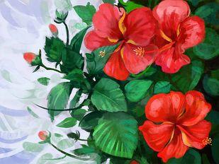 Flower in the Garden - 101 Digital Print by The Print Studio,Digital