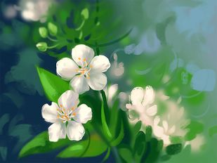 White Flowers - 106 Digital Print by The Print Studio,Digital