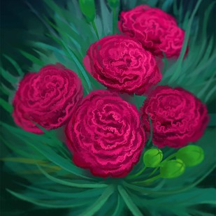 Garden Flowers - 108 by The Print Studio, Digital Painting, Digital Print on Canvas, Green color