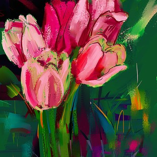 Bouquet of Tulips by The Print Studio, Digital Painting, Digital Print on Canvas, Green color