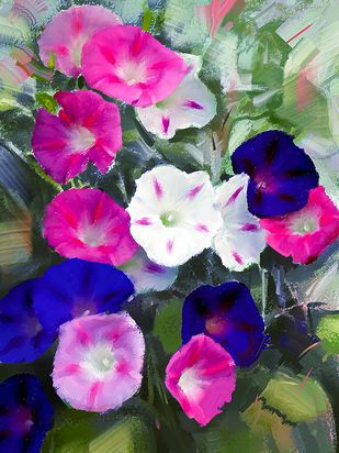 Colourful Blooms Digital Print by The Print Studio,Digital