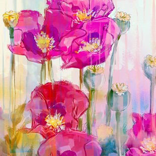 Pastel Flowers - 121 by The Print Studio, Digital Painting, Digital Print on Canvas, Pink color