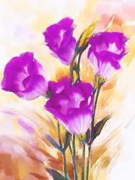 Purple Flowers - 122 Digital Print by The Print Studio,Digital