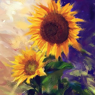 Sunflowers -124 by The Print Studio, Digital Painting, Digital Print on Canvas, Brown color