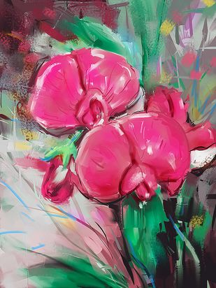 Pastel Flowers - 125 Digital Print by The Print Studio,Digital