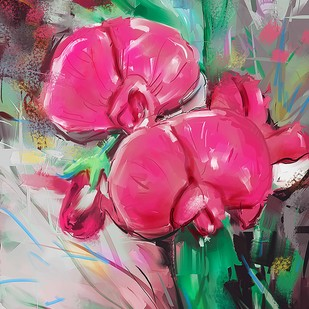 Pastel Flowers - 125 by The Print Studio, Digital Painting, Digital Print on Canvas, Pink color