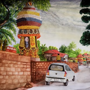 Traditional temple Chariot under modern Chariot by S.SHIVAPRASAD, Impressionism Painting, Acrylic on Paper, Brown color
