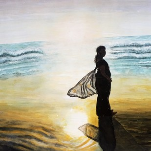 Woman wearing sarry in sea beach between sunshine & shadows by S.SHIVAPRASAD, Expressionism Painting, Acrylic on Paper, Beige color