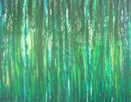 Wet Forest by Raja Rambabu, Abstract Painting, Acrylic on Canvas,