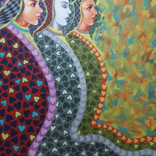 Admiring 2 by Santosh, Fantasy Painting, Acrylic on Canvas, Green color