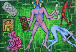 Detraction of Mobile by SHWETA SAHA, Conceptual Painting, Mixed Media, Green color