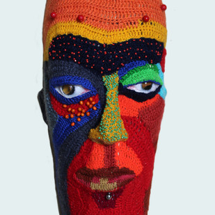 face 23 by Archana Rajguru, Art Deco Sculpture | 3D, Mixed Media, Cyan color