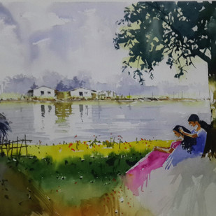Riverside Chat by Mopasang Valath, Impressionism Painting, Watercolor on Paper, Gray color