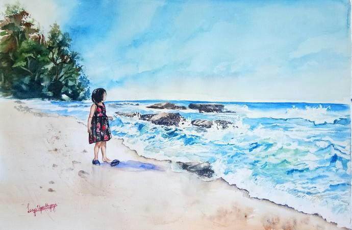 Andaman 1: Watching the waves at Ferar Beach by Lasya Upadhyaya, Impressionism Painting, Watercolor on Paper, Cyan color