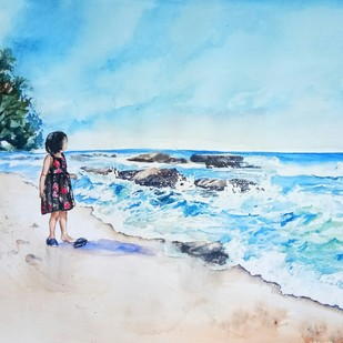 Andaman 1: Watching the waves at Ferar Beach by Lasya Upadhyaya, Impressionism Painting, Watercolor on Paper, Cyan color
