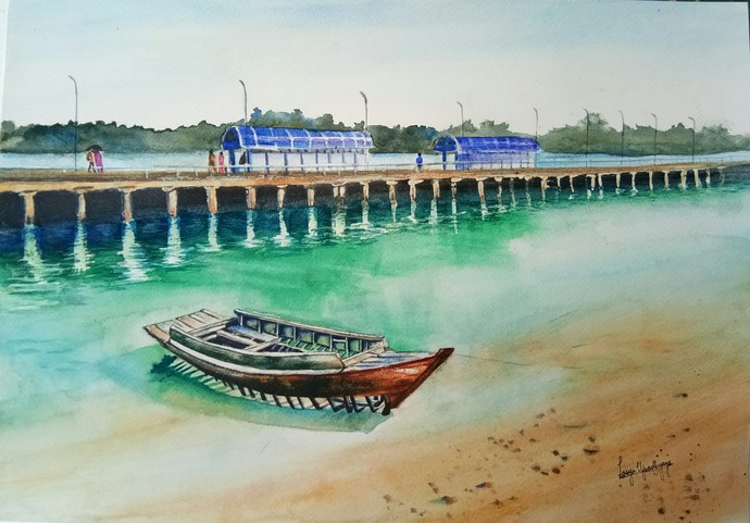 Andaman 2: Resting by the turquoise waters, Neil Island by Lasya Upadhyaya, Impressionism Painting, Watercolor on Paper, Cyan color